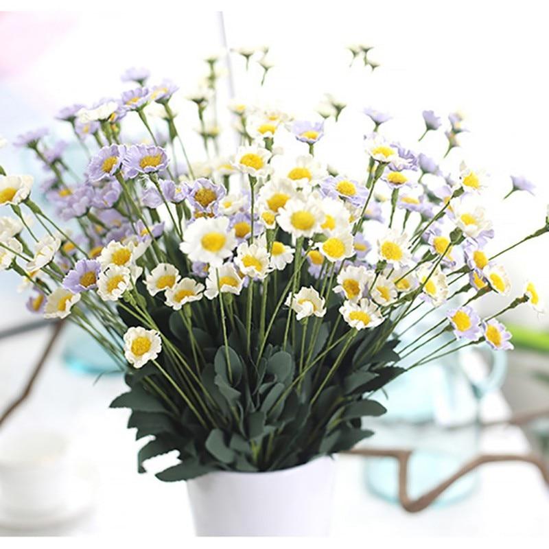 Online Shop Mini 15 Heads Daisy Flower Bouquet European Rose Silk Gerbera Wedding Home Decoration Cheap Artificial