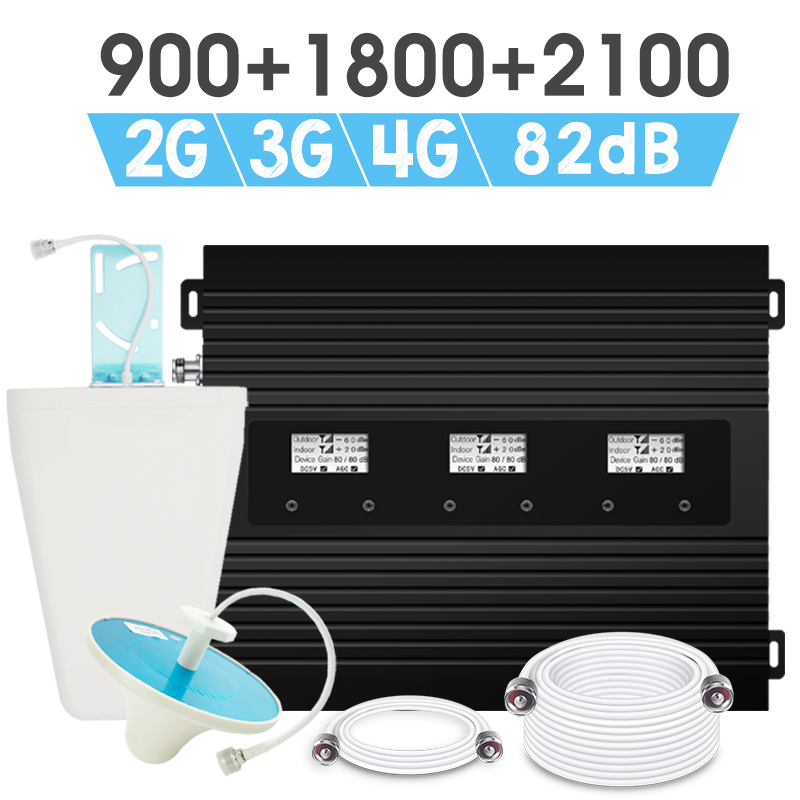 Répéteur de Signal de puissance 2G 3G 4G GSM 900 DCS 1800 WCDMA 2100 MHz amplificateur de Signal Mobile GSM1800 UMTS 82dB Gain amplificateur LCD AGC