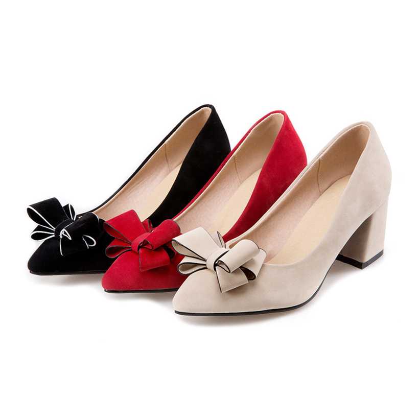 Plus Large Size Bow Thick Block High Heels Women Pumps Flock Pointed Toe Bowknot Office Party Dress Spring Autumn Ladies Shoes plus size 34 49 new spring summer women wedges shoes pointed toe work shoes women pumps high heels ladies casual dress pumps