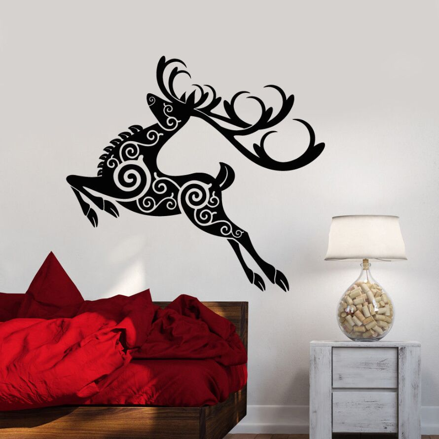 Vinyl Wall Decal Removable Deer Animal Stickers Decor Christmas Abstract Forest Sticker Ornament Art Mural AY583