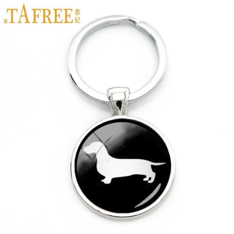 84418d7df5e0 TAFREE Teckel Mignon porte-clé de cru minimaliste chien silhouette art porte -clés belle chien photo de profil bijoux KC354