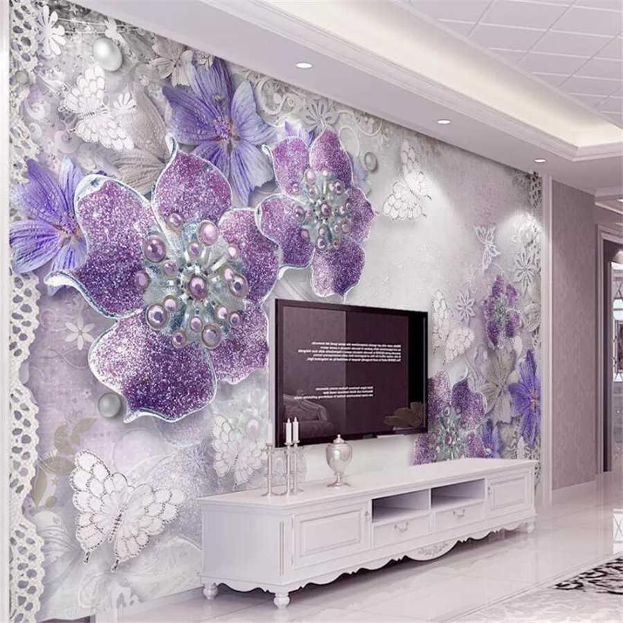Beibehang пользовательские обои 3D Фото Фреска Европейский стерео обои благородные Великолепные фиолетовые цветы ТВ фон настенная бумага Фреска