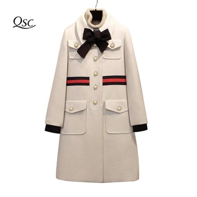 2018 Thick Coat Women Bow Slim Pocket Wool Winter Jacket Women Slim Woolen Long Cashmere Coats Cardigan Jackets Elegant Blend