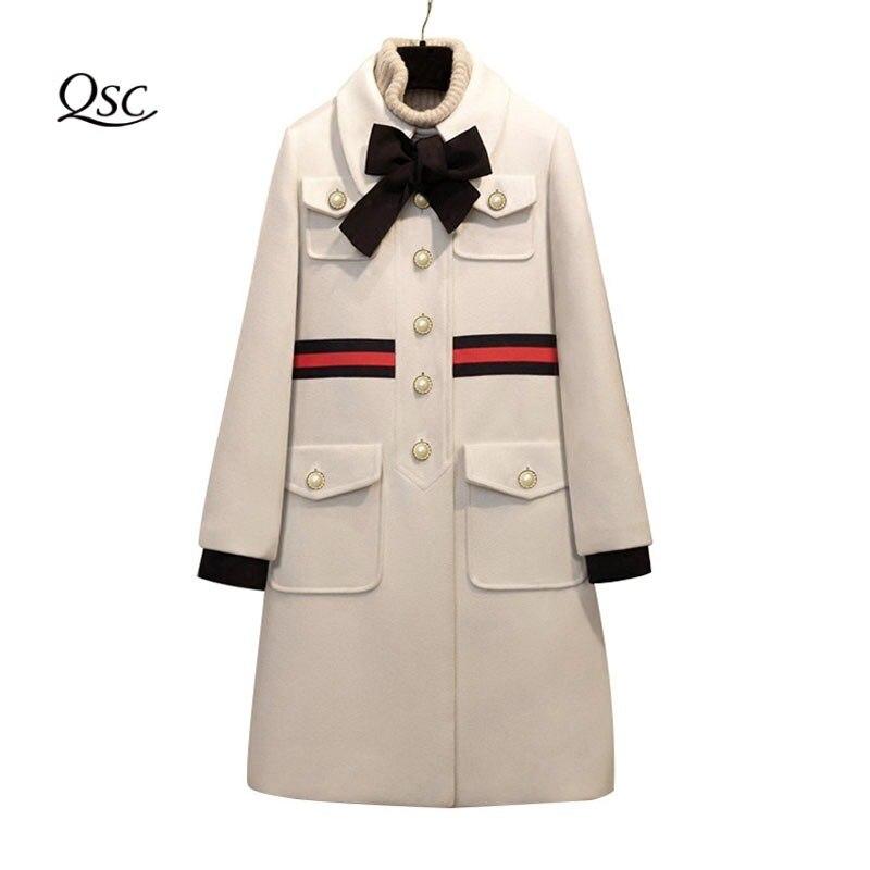 2018 couche épaisse Femmes Arc Mince Poche Laine veste d'hiver femmes Mince De Laine Long Cachemire Manteaux vestes cardigan Élégant Mélange