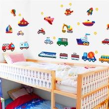 cars train motor bike ship transportation wall stickers for kids room decorations decals wall art children sticker 7212. 5.5