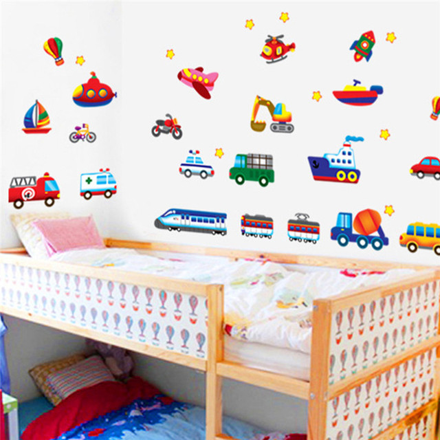 cars train motor bike ship transportation wall stickers for kids room decorations decals wall art children sticker 7212. 5.5