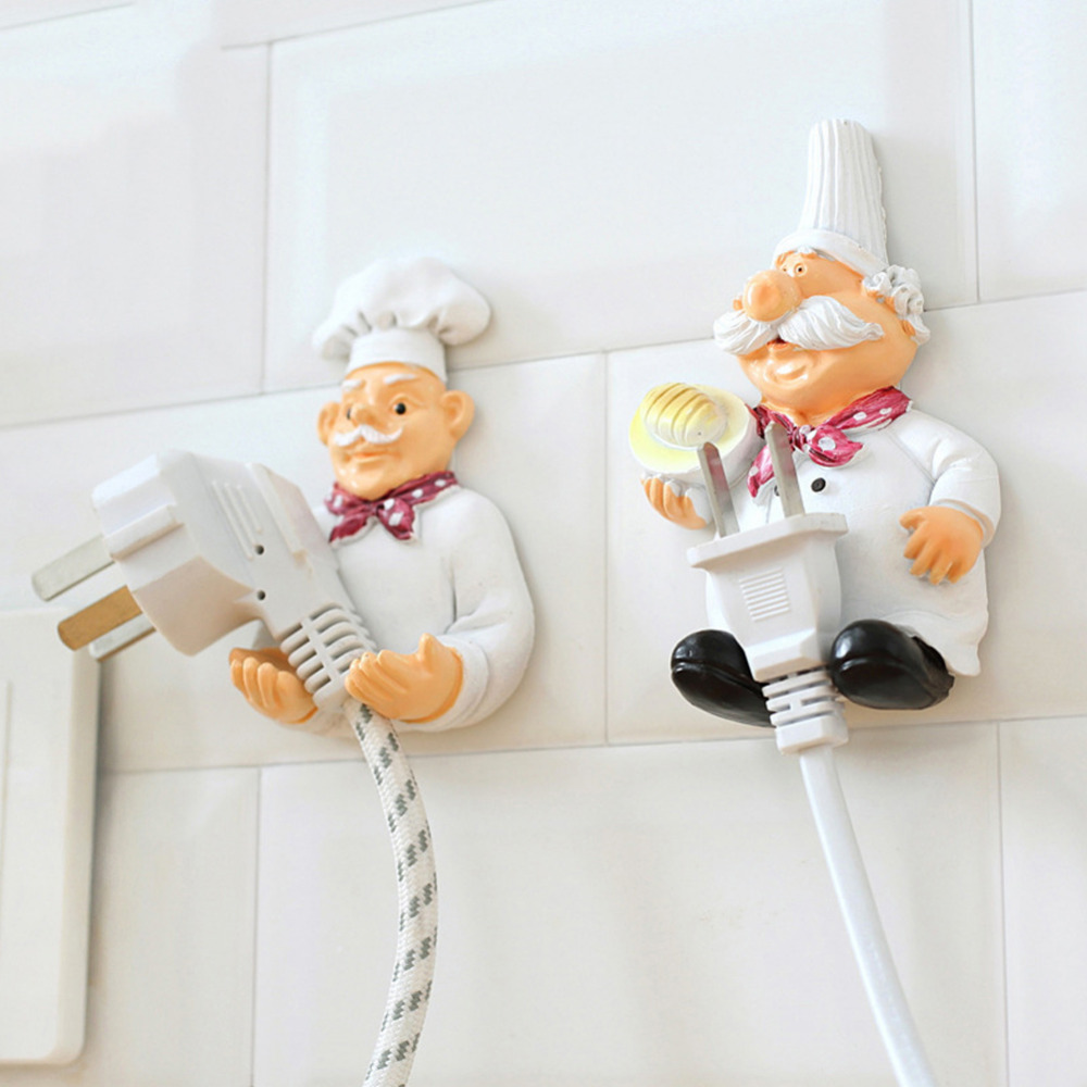Cook Design Power Plug Socket Storage Rack Wall Storage Hook Hanger Cartoon Kitchen Outlet Plug Holder Keys Bathroom