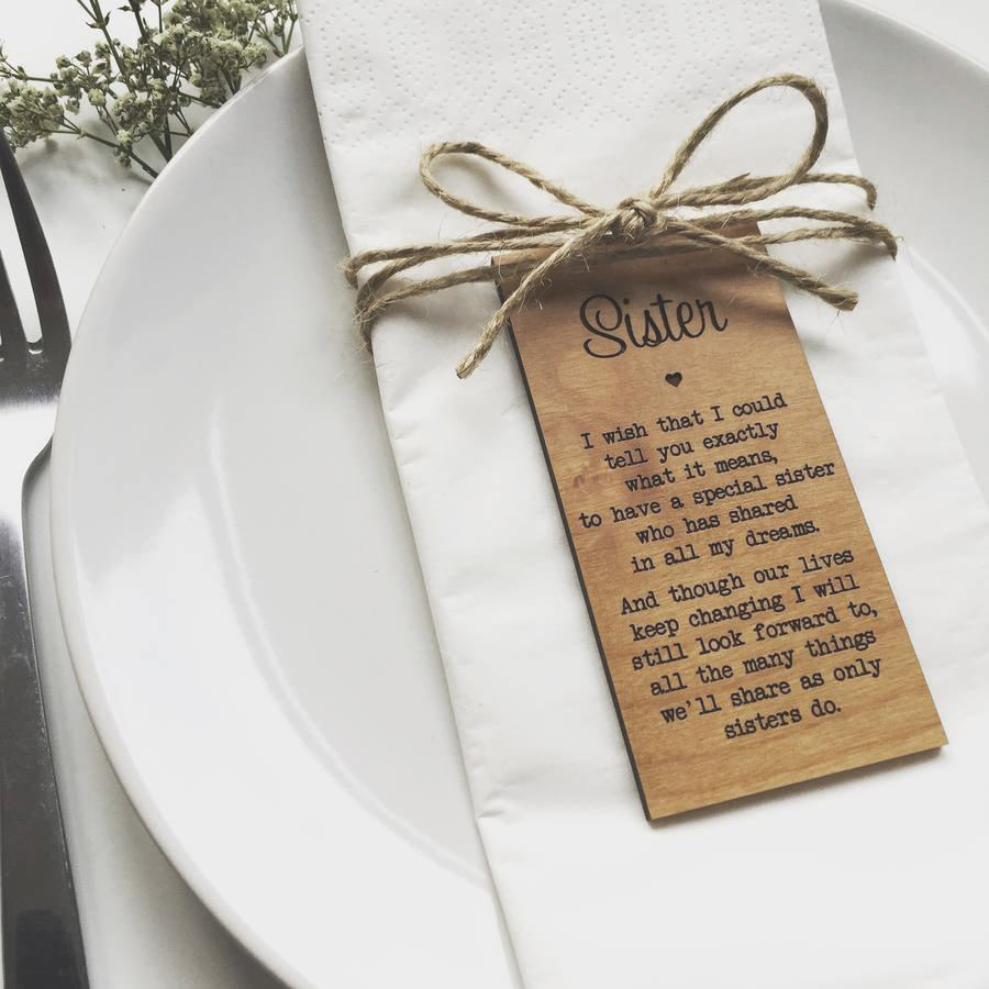 Sister Table cards, Rustic Wedding decor,Personalize Wedding gifts for guests,Wooden Place card,Napkin Rings,Table Place settin image