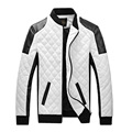 New Mens Fashion Slim Fit Motorcycle PU Leather men Jacket Coat Bomber Black/white,Jaquetas Masculinas M-6XL Free shipping KD90P