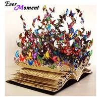 Ever Moment Diamond Paint Sale Colorful Butterfly Book Diamond Painting Full Square Animals Cross Stitch Drill Art ASF1037