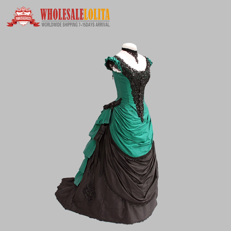 Satin Blue Bustle Gown Marie Antoinette Masked Ball Gothic Victorian Dress