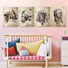 National Style Indian Chief American Man Portrait Painting Print on Canvas Retro Poster Wall Art Vintage Home Decor Dropshipping