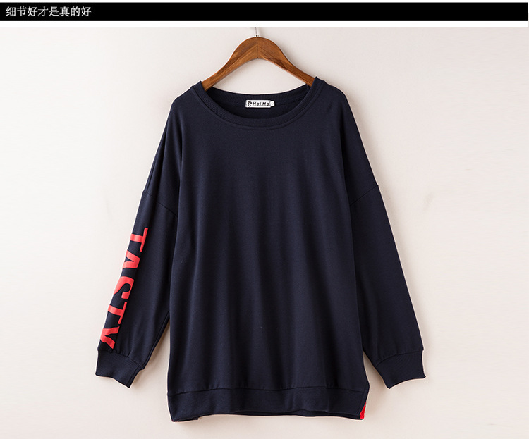 efa975982165 Oversize Hip hop 2018 Womens Long sleeve LUCKY Sweatshirts Ladys Students Loose  Hoodies Clothing Streewear Dark Blue-in Hoodies   Sweatshirts from Women s  ...