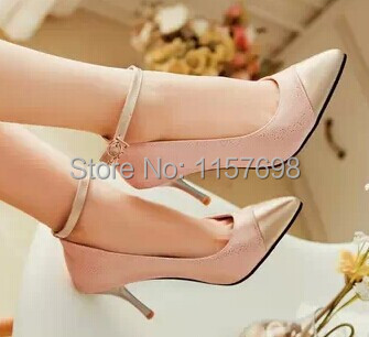Plus size high heeled shoes 40 45 thin heels pointed toe single shoes color block decoration