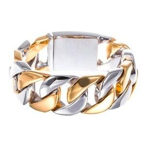 Image 4 - TrustyLan 23MM Wide Thick Chain Solid Golden Stainless Steel Men Bracelet Biker Jewelry Friendship Mens Bracelets & Bangles 2018