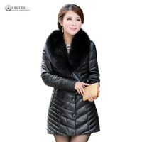 Новый Для женщин натуральная кожа куртка Black Fox меховой воротник белого утиного пуха зимняя верхняя одежда женский из натуральной кожи овчи