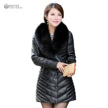 New Women Real Leather Jacket Black Fox Fur Collar White Duck Down Winter Outerwear Female Genuine Leather Sheepskin Coat OK1162