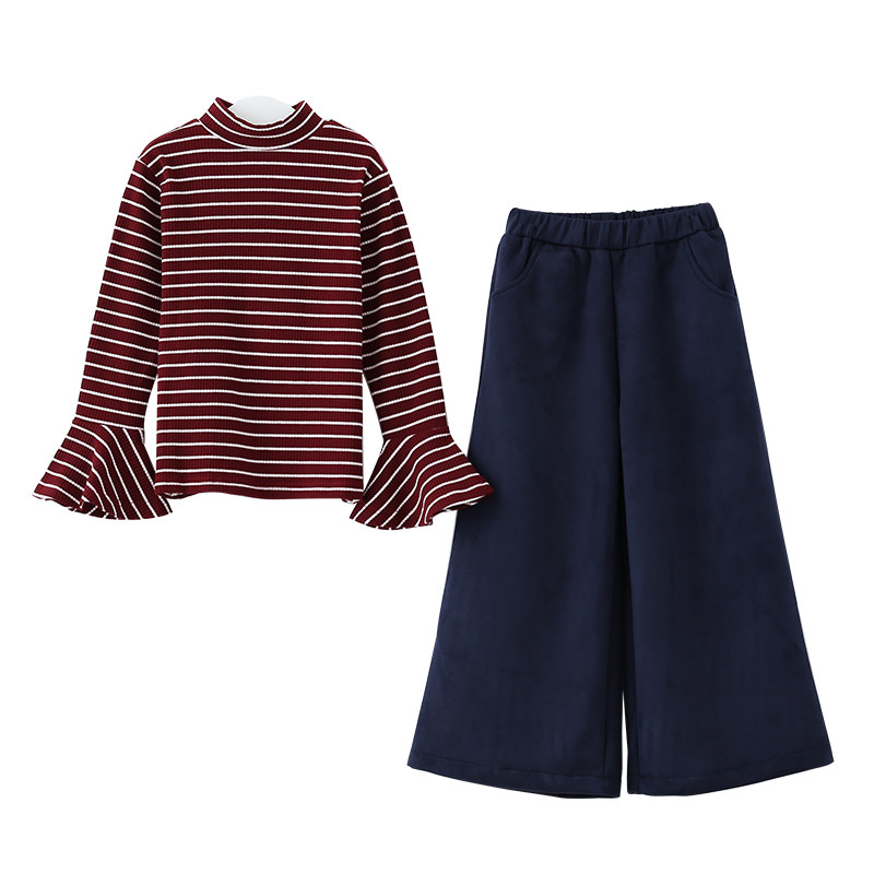 6 to 16 years kids & teenager girls turtleneck striped long flare sleeve t-shirt with wide leg capris pant set child 2 piece set lole капри lsw1349 lively capris xs blue corn