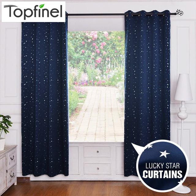 Top Finel Lucky Star Design 100 Polyester Modern Window Curtain Living Room Curtains Drapes Blackout