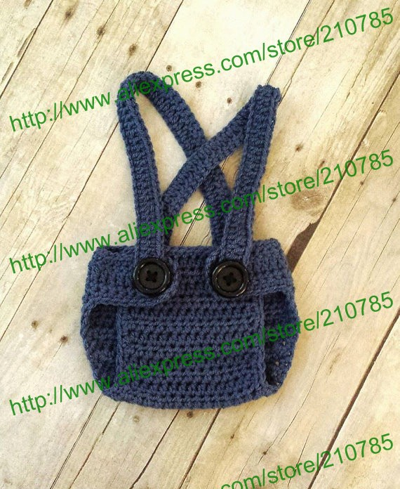 Free shipping,Baby Boy Minion Set Crochet suspender Diaper Cover ...