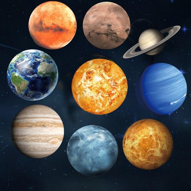 Lichtgevende Maan Aarde 9 planeten 3D Muurstickers voor Kinderkamer Slaapkamer Glow In The Dark Sterren Muursticker Home decor Woonkamer