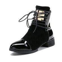2016 Nuevas Mujeres de Cuero Genuino Botas Planas Martin Tobillo Botas de Moto Para Mujer Otoño Invierno Mujer Zapatos de las mujeres Más El Tamaño 43