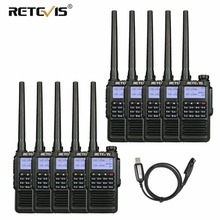 10pcs כף יד עמיד למים ווקי טוקי Retevis RT87 5W IP67 VHF UHF Dual Band שלגון VOX חובב רדיו תחנה communicator