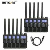 10pcs Handheld Waterproof Walkie Talkies Retevis RT87 5W IP67 VHF UHF Dual Band Scrambler VOX Amateur Radio Station Communicator