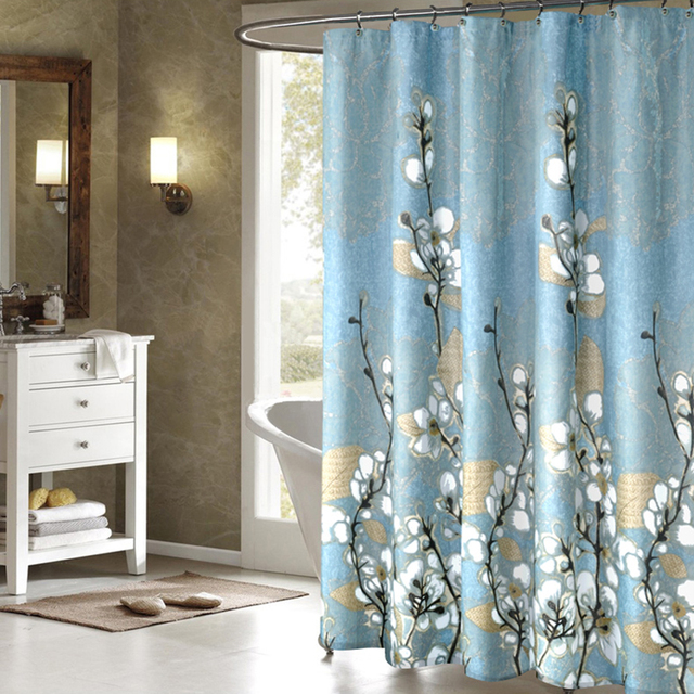 Retro Magnolia Pattern Flower Fabric Shower Curtains Liner For Bathroom Can Be Screen Non