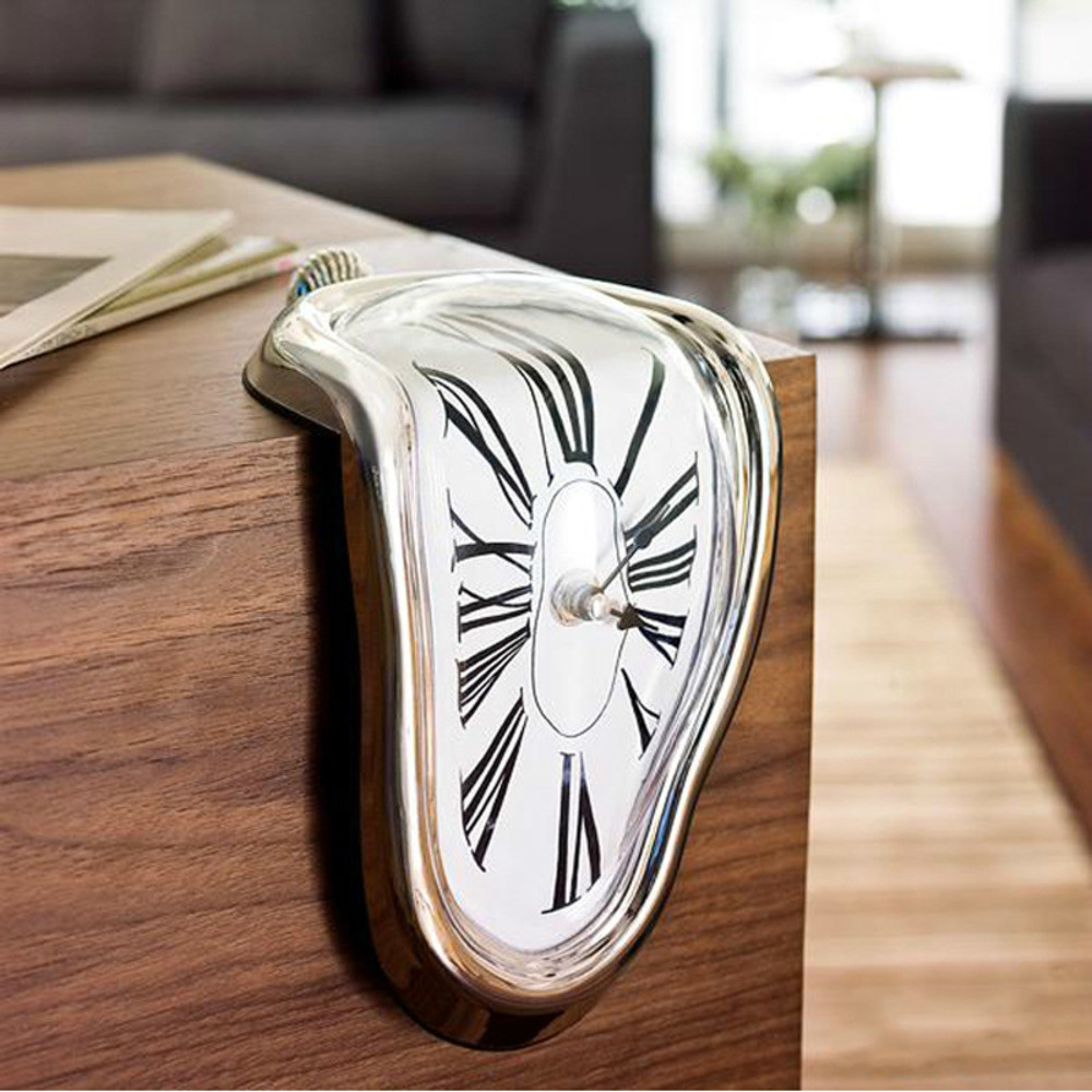 Fashion Art <font><b>90</b></font> Degree Surreal Melting Distorted Wall Clock Salvador Distortion Dali Style Wall Clock For Home Decoration Antique image