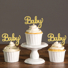 Glitter Script Baby Shower Cupcake Toppers Picks,Pregnancy Announcement Gender Reveal Birthday Party Cake Decorations Accessory