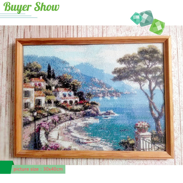 Huacan Diamond Painting Scenic 5D Diamonds Mosaic Seaside Picture Rhinestones Full Square Drill Home Decoration