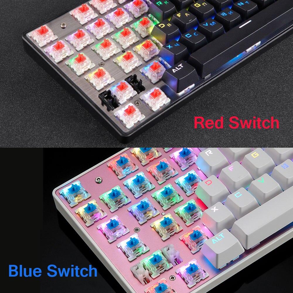 Motospeed CK104 clavier mécanique de jeu russe anglais rouge commutateur bleu métal filaire LED rétro-éclairé RGB anti-images fantômes pour gamer - 5