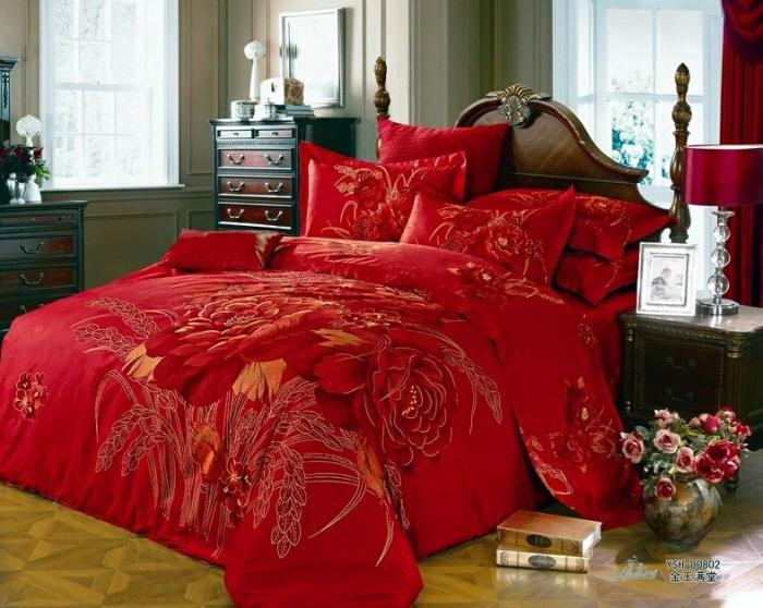 3d Red Floral Comforter Bedding Set King Size Queen