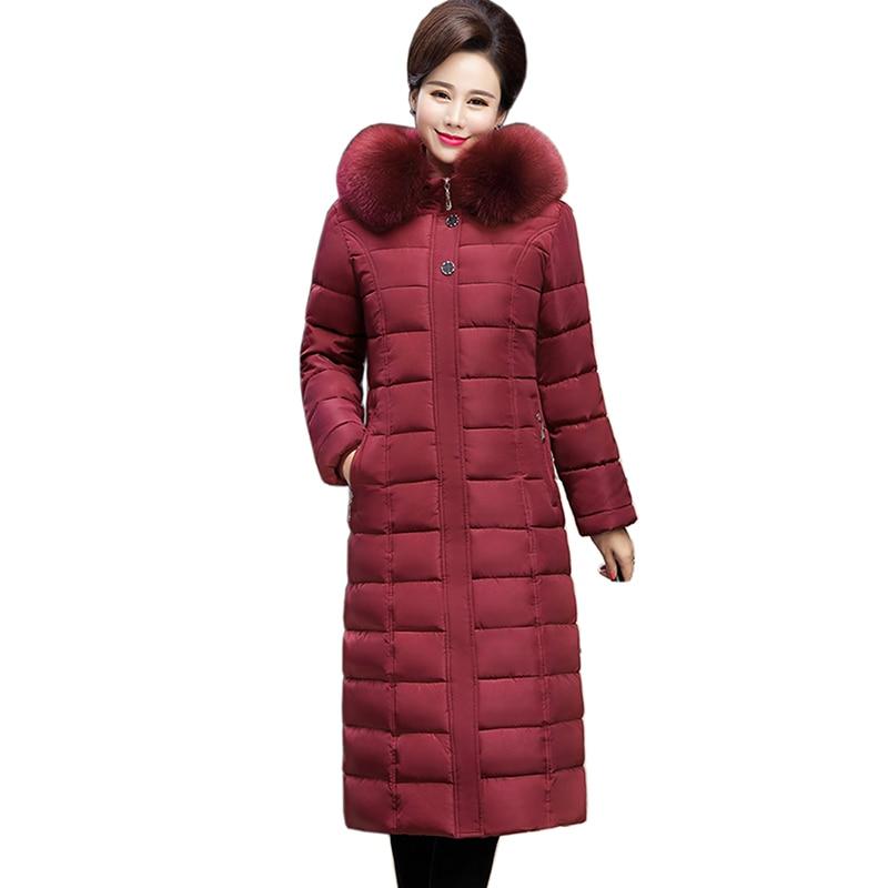 2018 Fur Collar women Jacket Autumn Winter Coat Women Hooded Plus Size Cotton Padded Winter Jacket Women long Outwear   Parkas