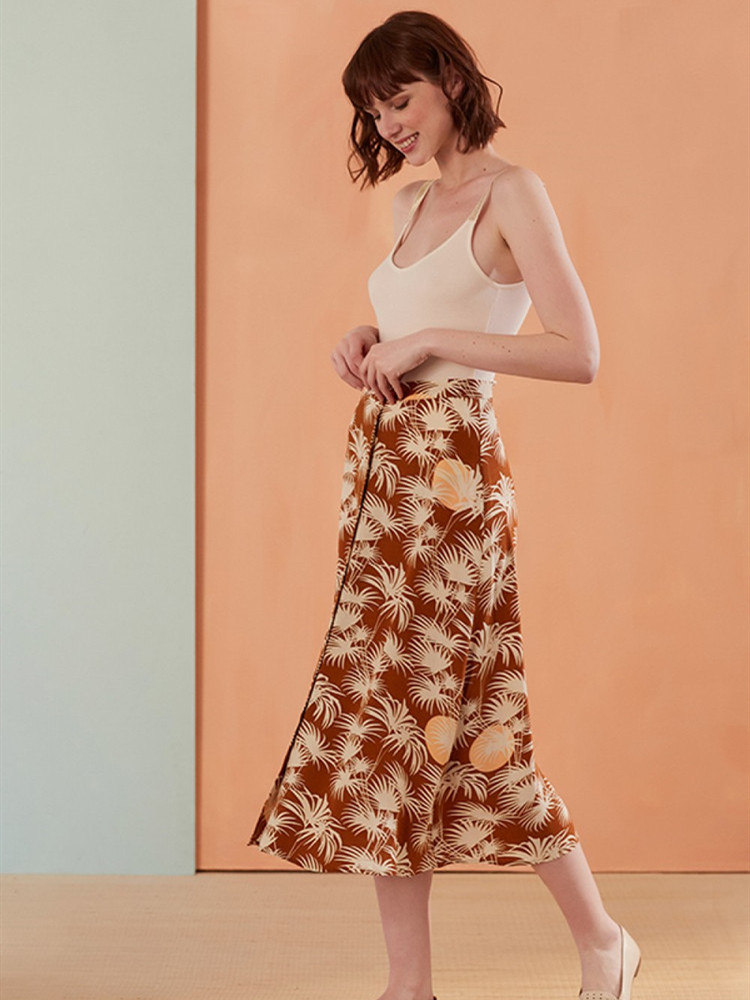 Women Skirts French Sweet Style Vintage New 2019 Spring and Autumn Palm tree Print Jupe Femme