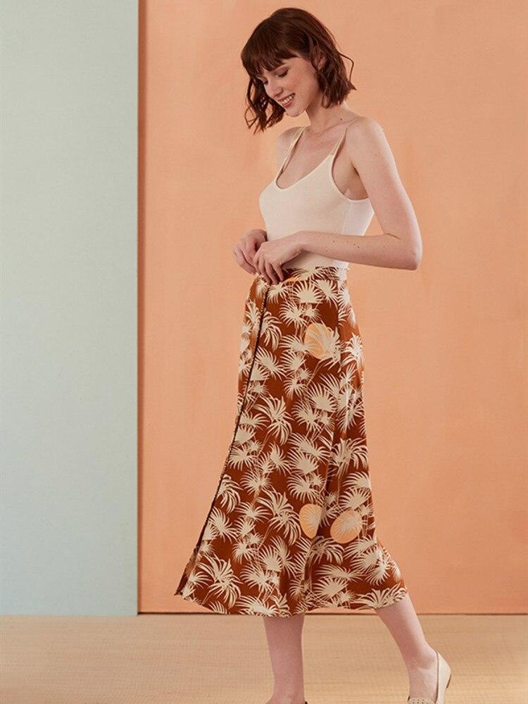 여성 스커트 프랑스어 달콤한 스타일 빈티지 새로운 2019 봄과 가을 야자수 인쇄 jupe femme 중간 긴 버클 디자인-에서스커트부터 여성 의류 의  그룹 1