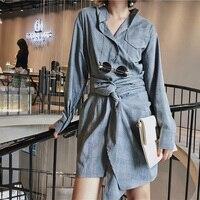 2017 Autumn Dress Casual Lattice Shirt Dress Long Sleeve Women Dress Gray Womens Clothing