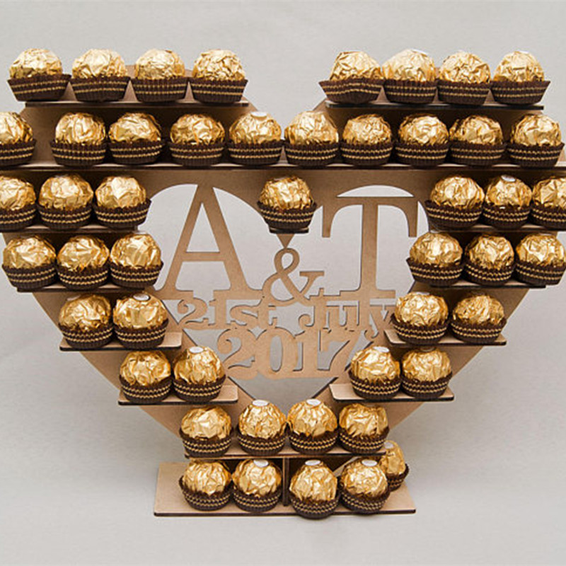 Personalized Custom Ferrero Rocher Heart Tree Wedding Display Stand Centrepiece Vintage Wood Table Wedding Party Decoration