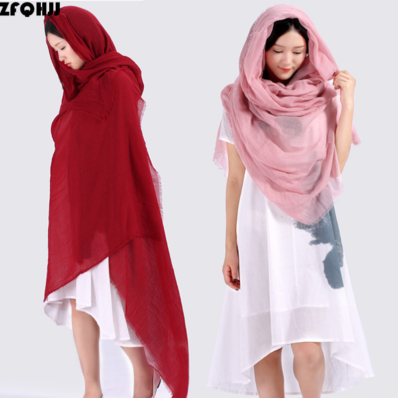 200x130cm Women Oversize Plain Cotton Scarf Hijab Female Cotton Linen Pashmina Tassels Scarves Shawls Wraps Big Sizes With A Bag