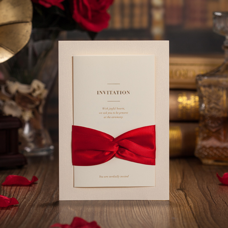 (10 pieces/lot) Red Wedding Invitations Cards Classic Chinese Bow Knot Gold Embossing Business Invitation Card CW2021