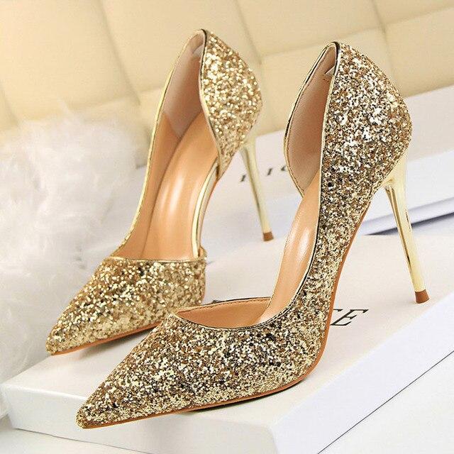 LAKESHI 女性は極端なハイヒールのセクシーな花嫁の結婚式の靴夏女性のハイヒールの靴ブリンブリンパーティーゴールド靴女性 17 色