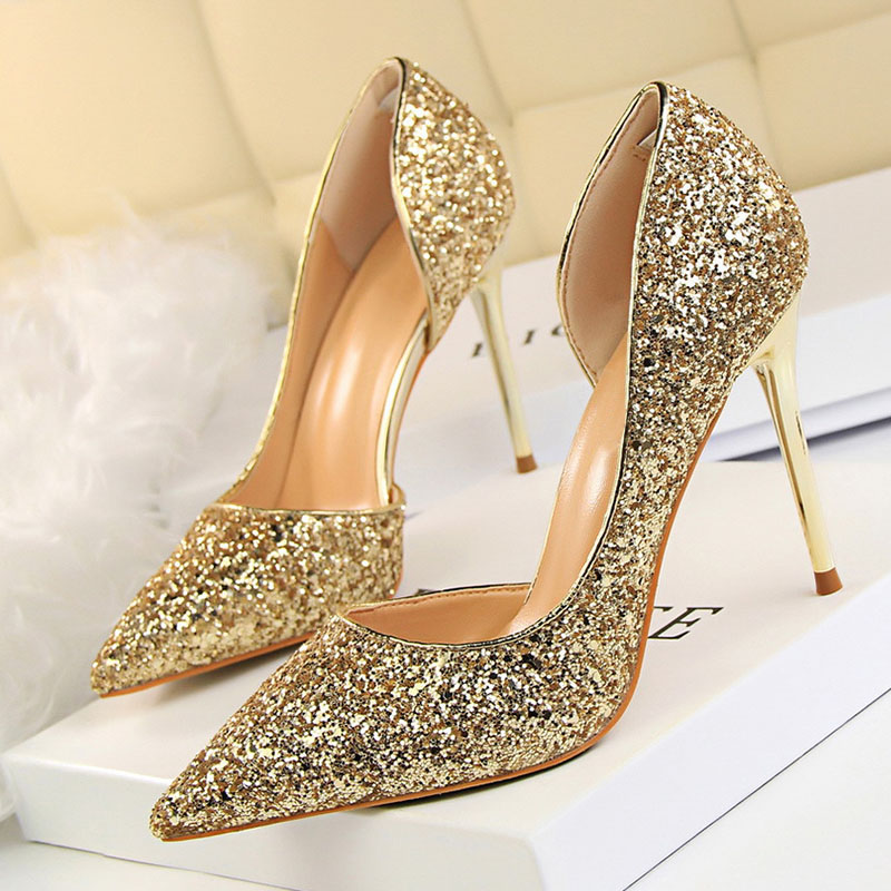LAKESHI Women Pumps Extreme High Heels Sexy Bride Wedding Shoes Summer Women Heel Shoes Bling Party Gold Shoes Female 17 Colors lakeshi women pumps platform high heels sexy 2018 summer peep toe shoes red square heel shoes party women heel shoes pumps