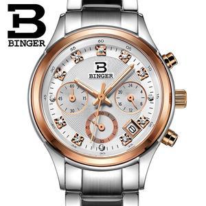 Image 5 - Relojes de pulsera Suiza Binger de lujo de cuarzo a prueba de agua reloj completo de acero inoxidable cronógrafo relojes de pulsera BG6019 W2