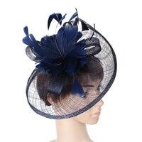 Mingli Tengda Vintage Bridal Hat 2018 Elegant Red Bride Wedding with Feathers and Flower Hats Wedding Decoration chapeau mariage