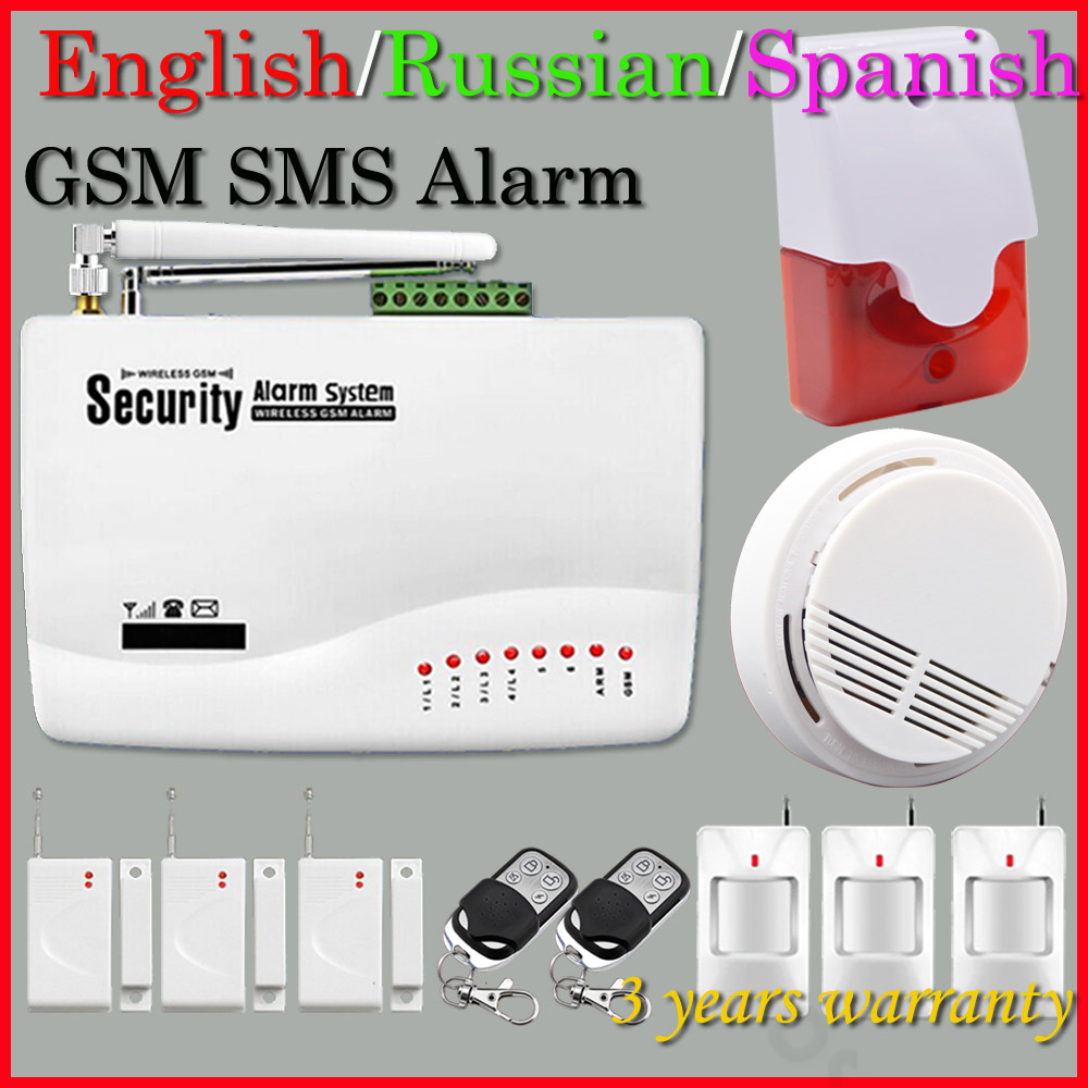 buy free shipping wireless gsm home security alarm system smoke detector 433mhz. Black Bedroom Furniture Sets. Home Design Ideas