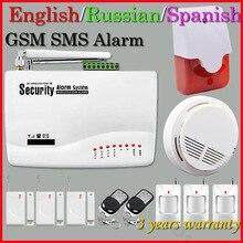 Бесплатная Доставка Беспроводной GSM Главная Охранной Сигнализации Детектор Дыма 433 МГц Дверь Магнитный Детектор Движения Горячий Продавать
