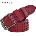 IFENDEI Fashion Designer Brand Belts Women Luxury Genuine Leather Hollow Belts High Quality Alloy Buckle Belt Wild Waist Jeans