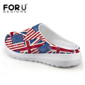 Casual Unisex Sandals Men Summer Shoes Breathable UK USA Flag Beach Sandals Mesh Lighted Shoes Outdoor Slip-on Women Slippers