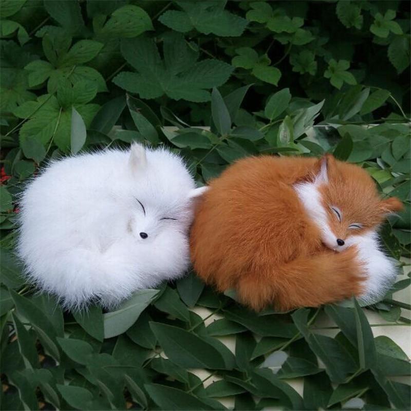 Cute Realistic Sleeping Fox Real Fur Furry Animal Interior Ornament Animal Plush Preschool Education Baby Toys Kids Birthday